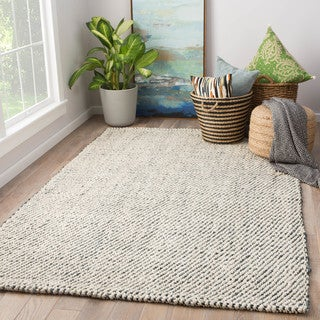Havenside Home Chincoteague Natural Jute Solid White/ Grey Area Rug (5' x 8')