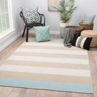 Juniper Home Mendocino Stripe Tan/Blue Wool Handmade Area Rug (5' x 8')