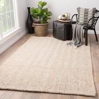 Terre Beige/White Wool/Jute Handmade Chevron Area Rug (5' x 8')