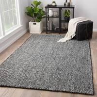 Hyde Handmade Solid Black/Grey Jute and Wool Area Rug (5' x 8')