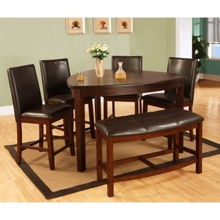 Best Quality Furniture 6 Piece Dark Cherry Counter Height Dining Table Set