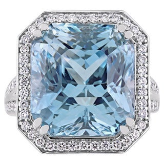 Miadora Signature Collection 14k White Gold Octagon-Cut Sky-Blue Topaz and Diamond Halo Cocktail Ring