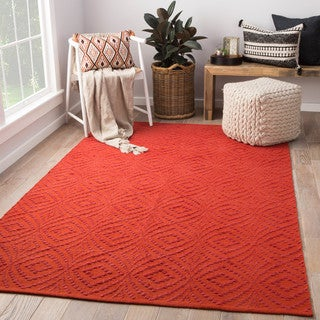 Arbor Handmade Trellis Red/ Orange Area Rug (5' X 8')