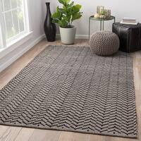 Wray Geometric Black/ Cream Handmade Area Rug (5' x 8')