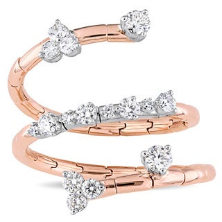 Miadora Signature Collection 2-Tone 18k White and Rose Gold 3/4ct TDW Diamond Floral-Inspired Spiral Ring