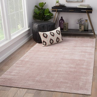 Lizette Handmade Solid Pink Viscose Indoor Rectangular Area Rug (5' x 8') - 5' x 8'