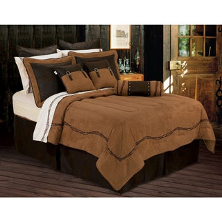 HiEnd Accents Embroidered Barbwire 6-piece Queen Size Comforter Set in Brown (As Is Item)
