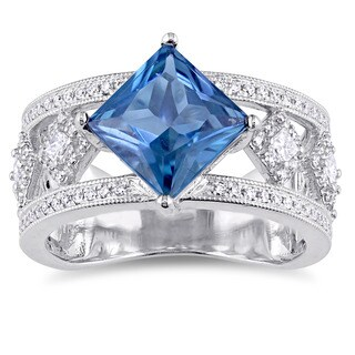 Miadora Signature Collection 14k White Gold London-Blue Topaz and 1/2ct TDW Diamond Geometric Ring