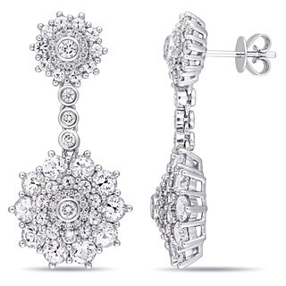 Miadora Signature Collection 14k White Gold White Sapphire and 5/8ct TDW Diamond Flower Cluster Drop Earrings