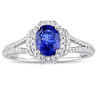 Miadora Signature Collection 14k White Gold Sapphire and 1-1/2ct TDW Diamond Halo Split Shank Engagement Ring - Blue