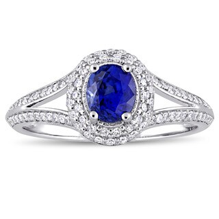 Miadora Signature Collection 14k White Gold Sapphire and 1/3ct TDW Diamond Halo Split Shank Engagement Ring (5 options available)