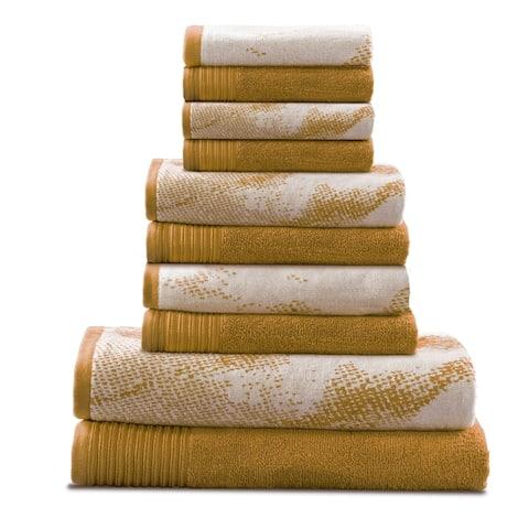 Miranda Haus Super Soft, Luxurious 100% Cotton Marble Effect 10-piece Towel Set