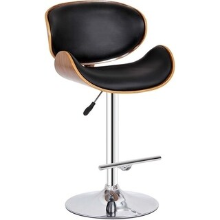 Bromi Design Hailey Black Faux Leather/Metal Adjustable Height Swivel Bar Stool