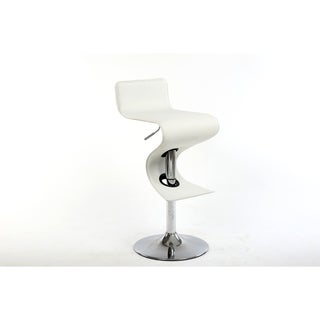 Bromi Design King White Faux-leather/Metal Adjustable-height Bar Stool