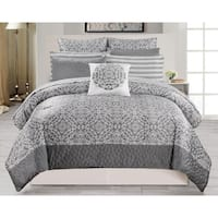 Ashlea 10Pc Oversize/Overfilled Queen Comforter Set /Grey