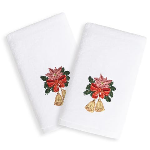 Christmas Bells Embroidered White Turkish Cotton Hand Towels (Set of 2)