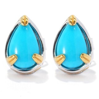 Michael Valitutti Palladium Silver Pear Shaped Sleeping Beauty Turquoise Stud Earrings