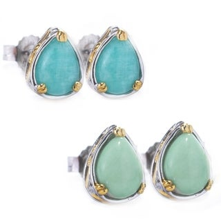 Michael Valitutti Palladium Silver Pear Shaped American Gemstone Stud Earrings