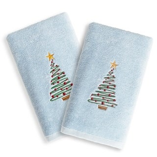 Christmas Tree Embroidered Light Blue Turkish Cotton Hand Towels (Set of 2)