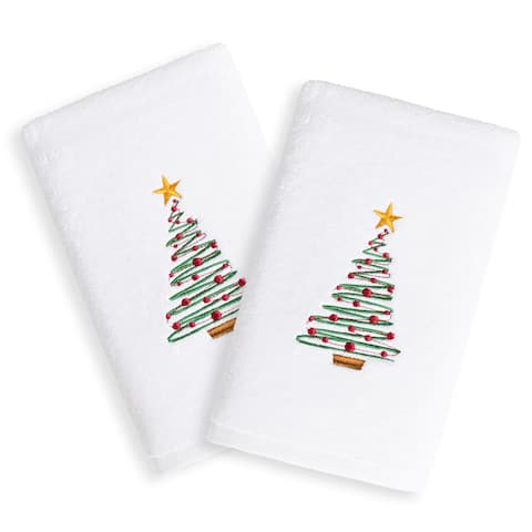 Christmas Tree Embroidered White Turkish Cotton Hand Towels (Set of 2)