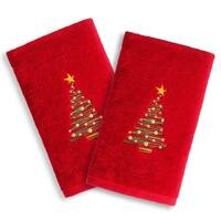 Christmas Tree Embroidered Red Turkish Cotton Hand Towels (Set of 2)
