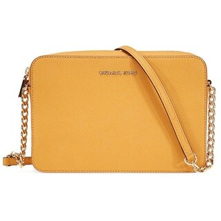 Michael Kors Jet Set Large Leather Marigold Crossbody Handbag