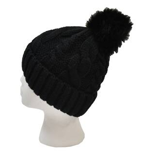 Le Nom Cable Knit Faux Fur Pom Beanie|https://ak1.ostkcdn.com/images/products/18178199/P24325156.jpg?impolicy=medium