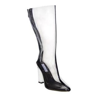 Lonia Shoes Garie Perspex Heel Clear Calf Length Boot