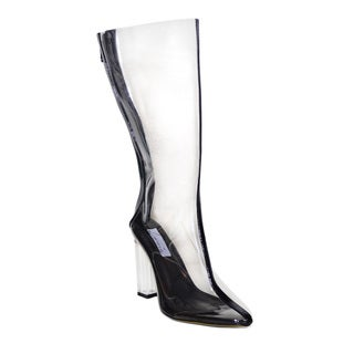 Lonia Shoes Garie Perspex Heel Clear Calf Length Boot