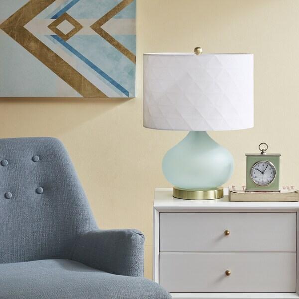 Urban Habitat Pomona Green 20-inch Table Lamp with White Drum Shade