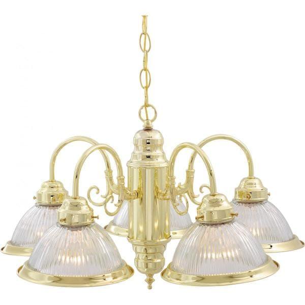 "5 Light 22"" Polished Brass Chandelier"