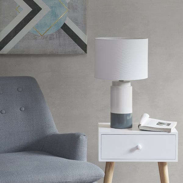 Urban Habitat Bailey Navy Table Lamp with White Drum Shade