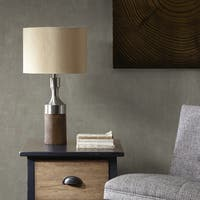 INK+IVY Larkin Brown 26.5-inch Table Lamp with Gold Drum Shade