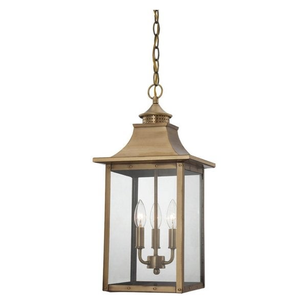 Acclaim Lighting St. Charles Collection Hanging Lantern 3-Light Outdoor Copper Patina Light Fixture  sc 1 st  Overstock & Acclaim Lighting St. Charles Collection Hanging Lantern 3-Light ... azcodes.com