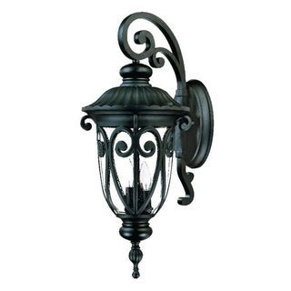 Acclaim Lighting Naples Collection 27.5 Inch 3-Light Outdoor Marbleized Mahogany Wall Lantern