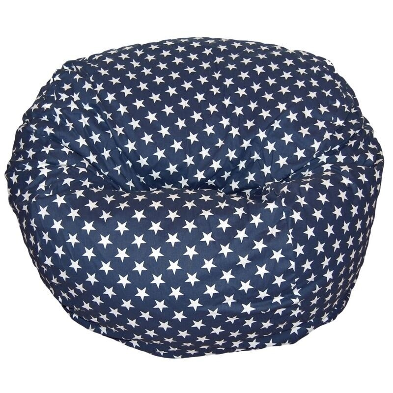 Ahh Products 36 Inch Wide Washable Large Bean Bag Chair Stars Navy