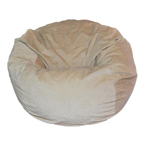 Ahh! Products - 36 Inch Wide Washable Large Bean Bag Chair - Microsuede Velvet Light Tan