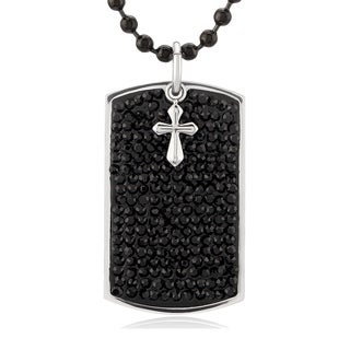 Crucible Stainless Steel Crystals with Cross Charm Dog Tag Pendant Necklace - Black