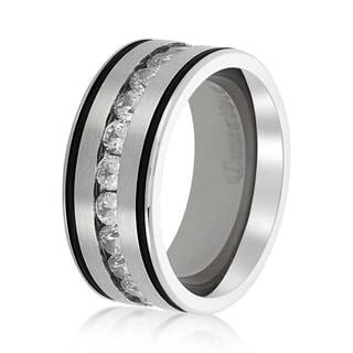 Crucible Stainless Steel Polished Channel Set Cubic Zirconia Striped Ring (10mm) - White