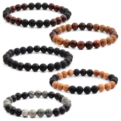 Men's Natural Stone and Wood Beaded Stretch Bracelet (8mm Wide)