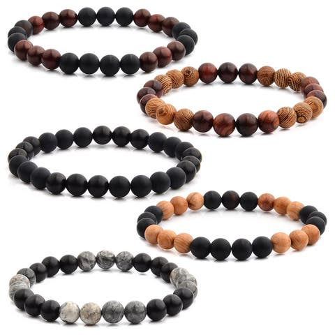 Crucible Natural Stone and Wood Beaded Stretch Bracelet (8mm Wide)