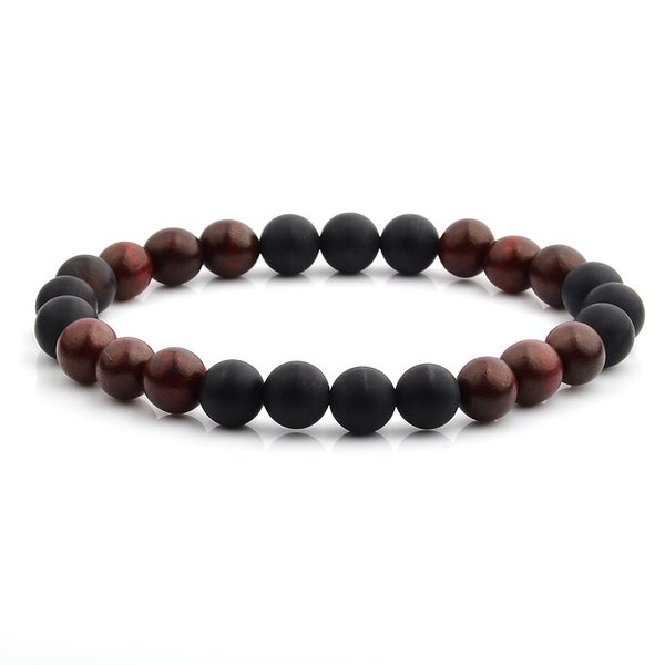 Natural Stone and Wood Beaded Stretch Bracelet (8mm Wide)