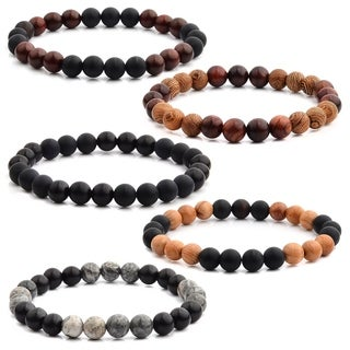 Natural Stone and Wood Beaded Stretch Bracelet (8mm Wide) (4 options available)