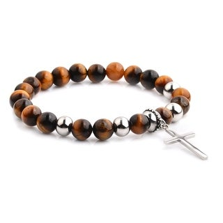 Polished Stainless Steel Cross Charm with Tiger's Eye Stone Beaded Stretch Bracelet (8.5mm Wide)