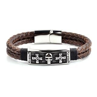 Antiqued Stainless Steel Skull Braided Leather Bracelet (13.5mm)