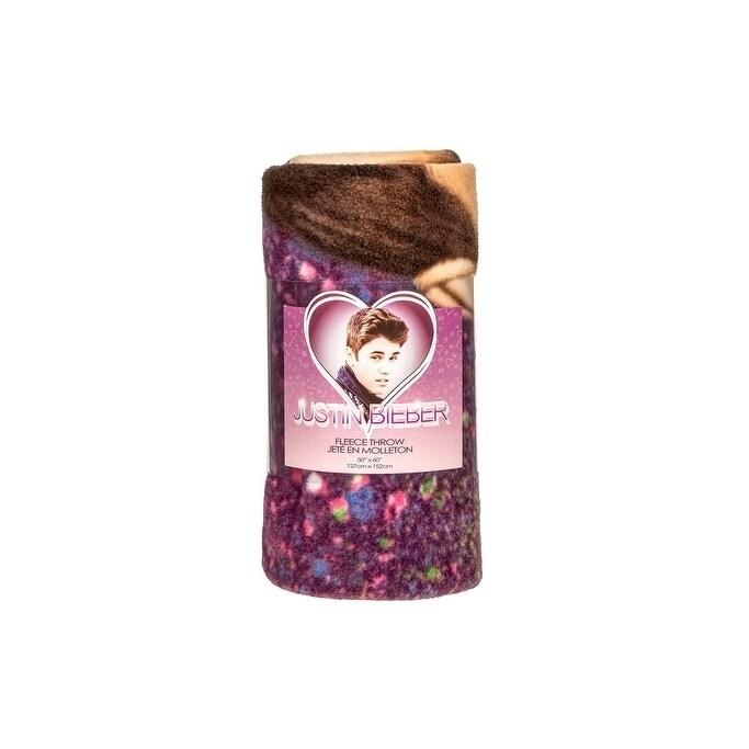 Justin Bieber Micro Raschel Fleece Blanket-Starburst Purp...