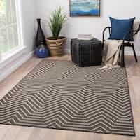 Clarion Indoor/ Outdoor Geometric Dark Gray/ Cream Area Rug (2' X 3')