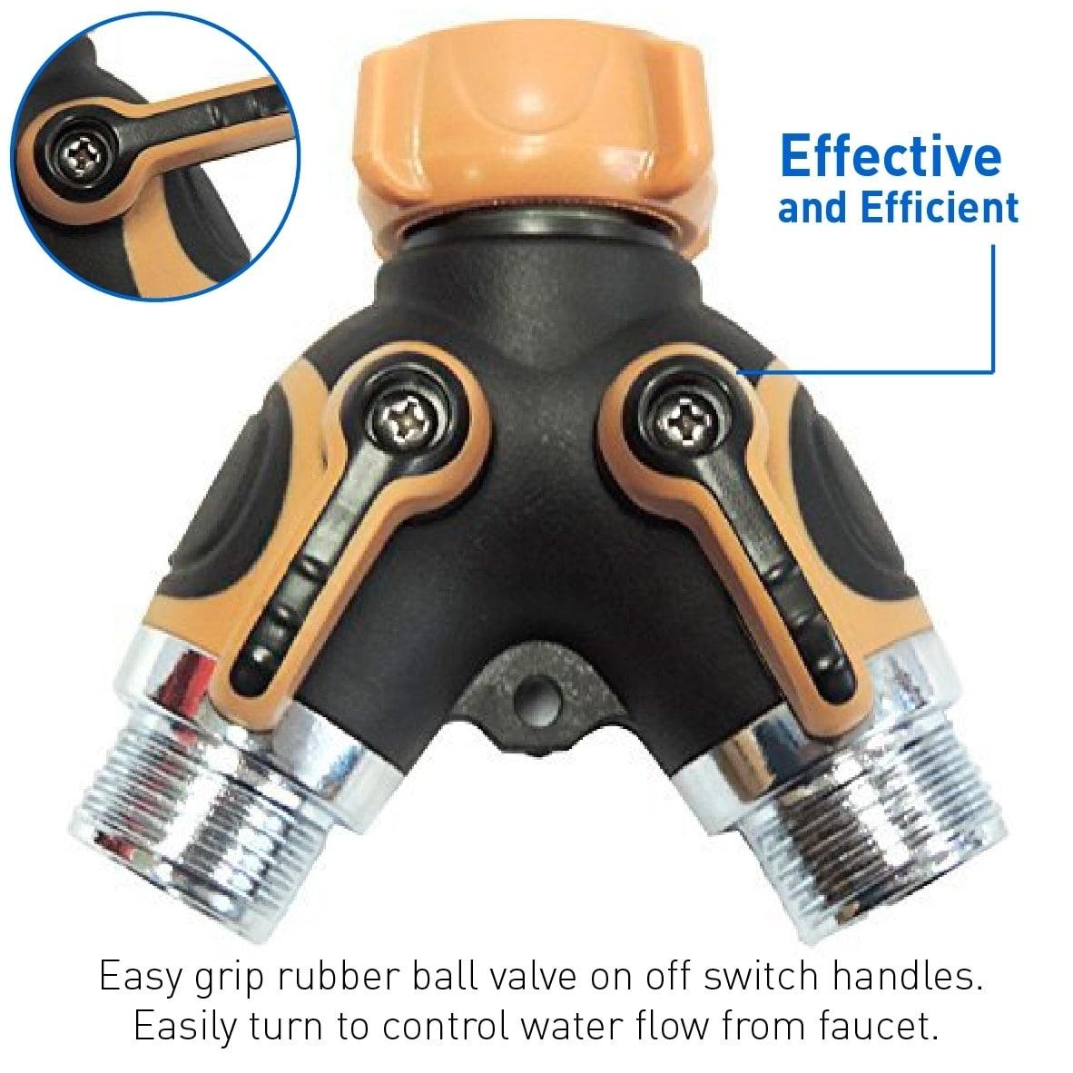 2 Way Valve Splitter Hose Adapter Spigot Faucet Connector...