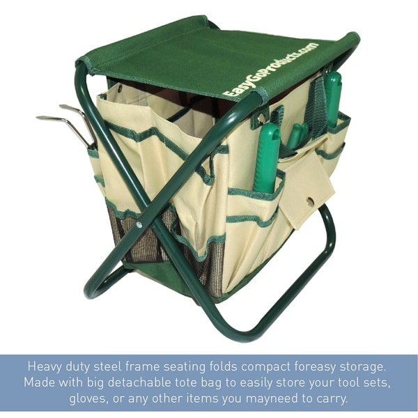High Quality 7 Piece Garden Seat Tool Set. Includes  Pruner, Hovel, Cultivator , Trowel,  Weeding Fork. Folding Stool Seat And Detachable Bag   Free Shipping On  Orders ...