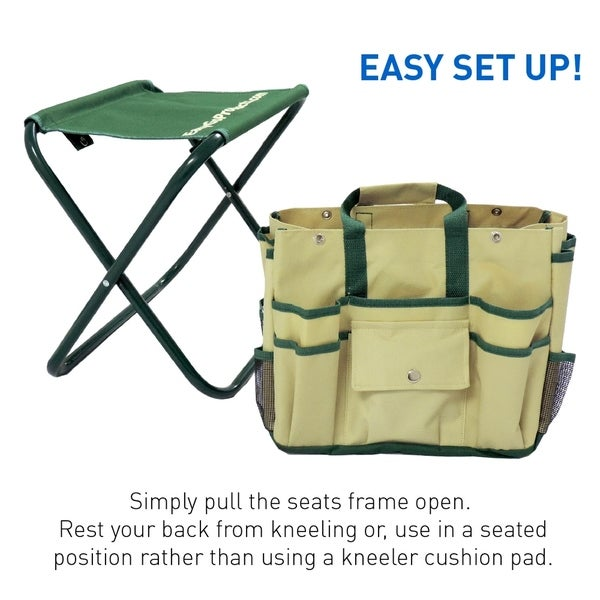7 Piece Garden Seat Tool Set. Includes  Pruner, Hovel, Cultivator , Trowel,  Weeding Fork. Folding Stool Seat And Detachable Bag   Free Shipping On  Orders ...